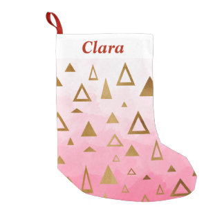 gold geometric triangles pastel pink brushstrokes small christmas stocking