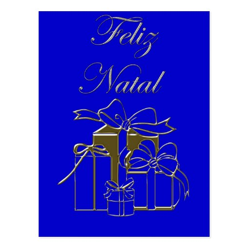 Gold Gifts Merry Christmas Card Feliz Natal Post Card