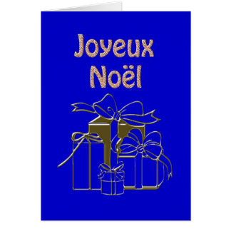 Gold Gifts Merry Christmas Joyeux Noel French Cards