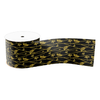 gold ginkgo grosgrain ribbon