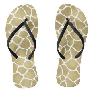 Gold Giraffe Print Flip Flops