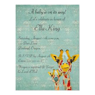 Gold Giraffes Baby Invitation
