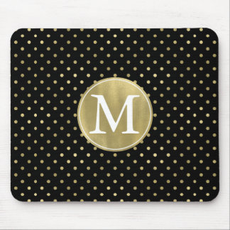 Gold Glam and Black Dots monogram Mouse Pad