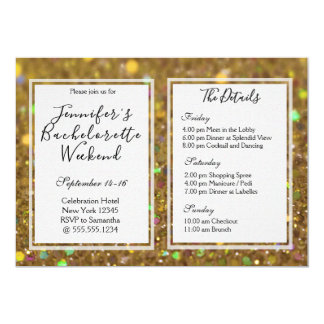 Gold Glam Bachelorette Weekend Party Card