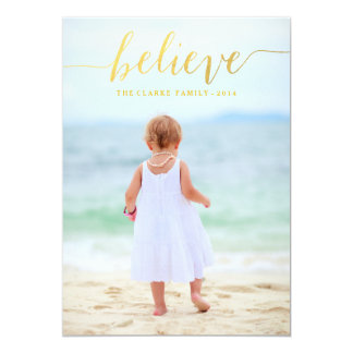 """Gold Glam Believe Holiday Photo Card 5"""" X 7"""" Invitation Card"""