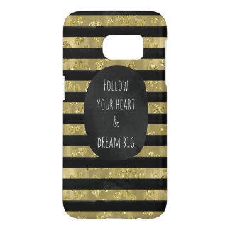 Gold Glam Black Watercolor Stripes Samsung Galaxy S7 Case