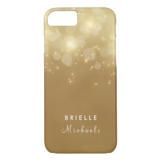 Gold Glam Bokeh Glitter Sparkle Lights With Name iPhone 7 Case