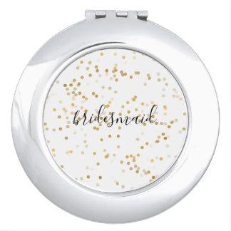 Gold Glam Confetti Bridesmaid Compact Mirrors