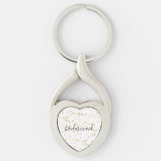 Gold Glam Confetti Bridesmaid Keychain