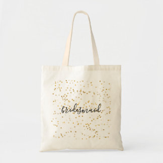 Gold Glam Confetti Bridesmaid Tote Bag