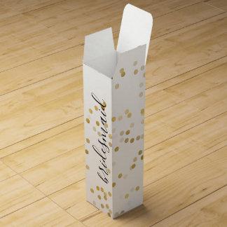 Gold Glam Confetti Bridesmaid Wine Gift Box
