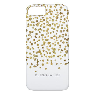 Gold Glam Confetti Dots iPhone 7 Case