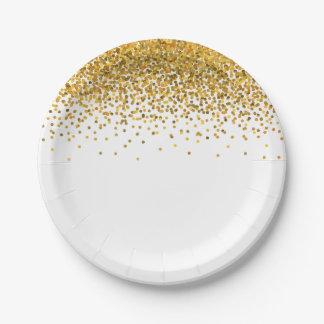 Gold Glam Confetti Dots Paper Plate