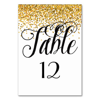 Gold Glam Confetti Dots table number