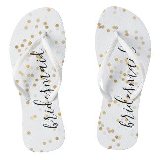 Gold Glam Confetti Flip Flops