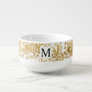Gold Glam Confetti Monogram Soup Mug