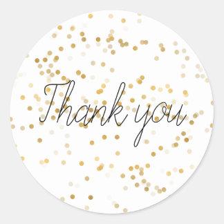Gold Glam Confetti Thank you Classic Round Sticker