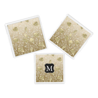 Gold Glam Diamonds Monogram Acrylic Tray