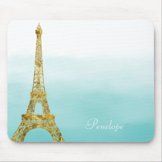Gold Glam Eiffel Tower Aqua Ombre Watercolor Mouse Pad