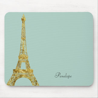 Gold Glam Eiffel Tower Mouse Pad