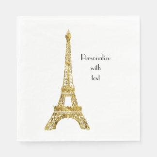 Gold Glam Eiffel Tower Paper Napkin