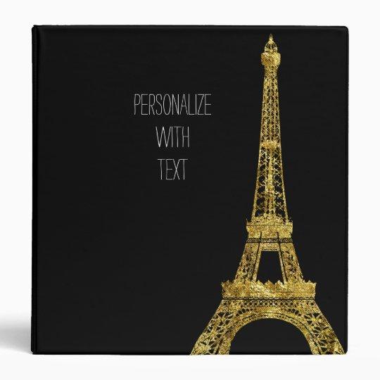 Gold Glam Eiffel Tower Vinyl Binder