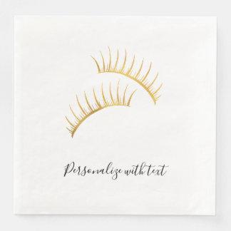 Gold Glam Eyelashes Paper Napkins