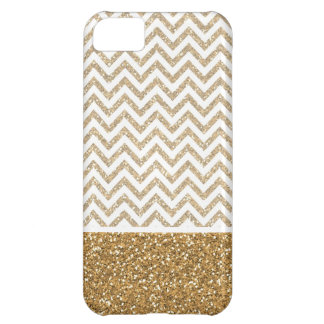 Gold Glam Faux Glitter Chevron Case For iPhone 5C