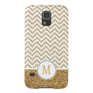 Gold Glam Faux Glitter Chevron Galaxy S5 Cases