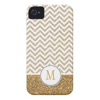 Gold Glam Faux Glitter Chevron iPhone 4 Case-Mate Case
