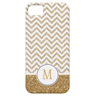 Gold Glam Faux Glitter Chevron iPhone 5 Cover