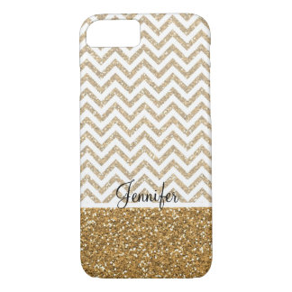 Gold Glam Faux Glitter Chevron iPhone 7 Case