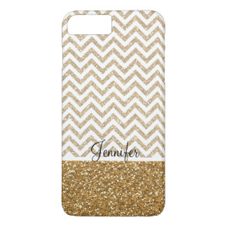 Gold Glam Faux Glitter Chevron iPhone 8 Plus/7 Plus Case