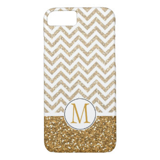 Gold Glam Faux Glitter Chevron Monogram iPhone 7 Case
