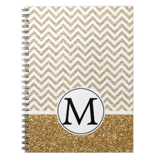 Gold Glam Faux Glitter Chevron Spiral Notebooks
