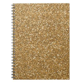 Gold Glam Faux Glitter Spiral Notebook