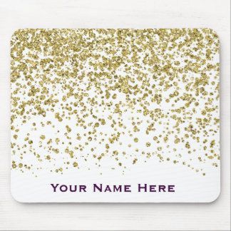 Gold Glam Glitter Confetti Personalized Mousepad