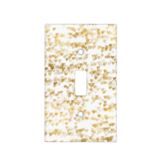 Gold Glam Hearts Bokeh Light Switch Cover
