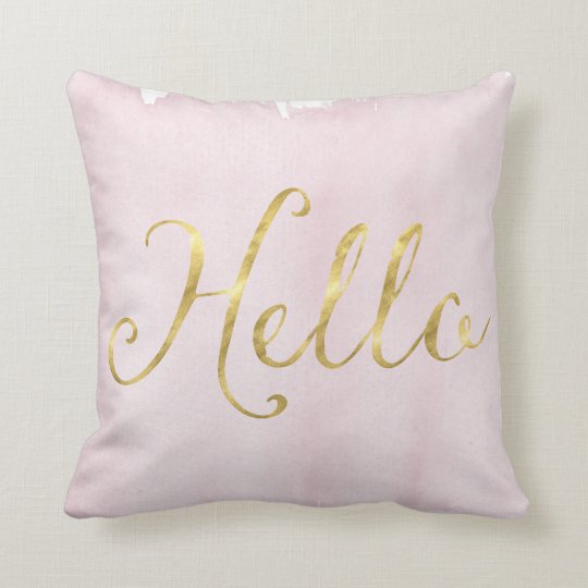 Gold Glam Hello Pink Watercolor Throw Pillow