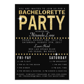 Gold Glam & Leopard Back Bachelorette Party Card