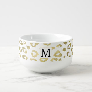 Gold Glam Leopard Print Monogram Soup Mug