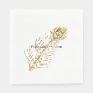 Gold Glam Peacock Feather Paper Napkins