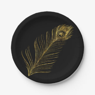 Gold Glam Peacock Feather 7 Inch Paper Plate