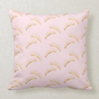 Gold Glam Pink Eyelashes Throw Pillow