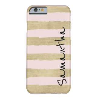 Gold Glam Pink Stripes Personalized Barely There iPhone 6 Case