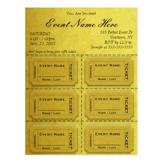 Gold Glam Raffle Tickets Postcard