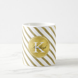 Gold Glam Stripes Monogram Coffee Mug
