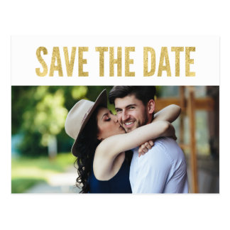 Gold Glam Typography Photo Save the Date Postcards