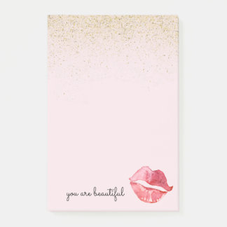 Gold Glam Watercolor Lips Kiss You are Beautiful Post-it Notes
