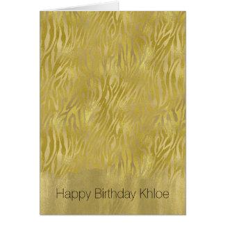 Gold Glam Zebra Print Stripes Birthday Card